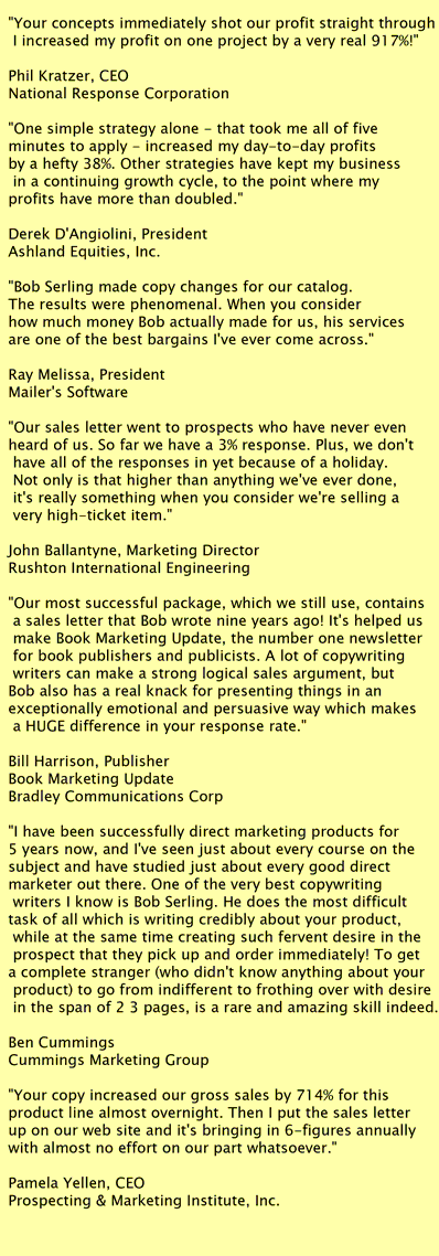 web copywriting testimonials